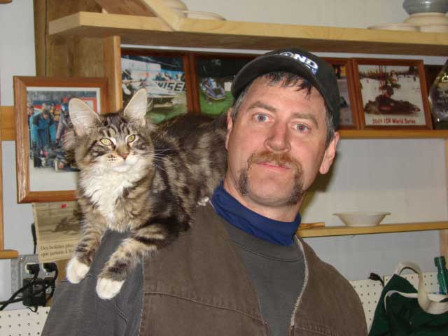 Cheyenne on Jimmy's shoulder in March 2008.