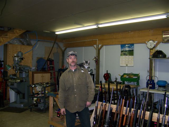 Hanging out with Jimmy in the Cowboy Gunworks shop.